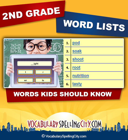 2nd Grade Spelling Words Second Grade Spelling Lists
