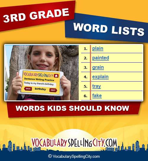 3rd Grade Spelling Word Lists