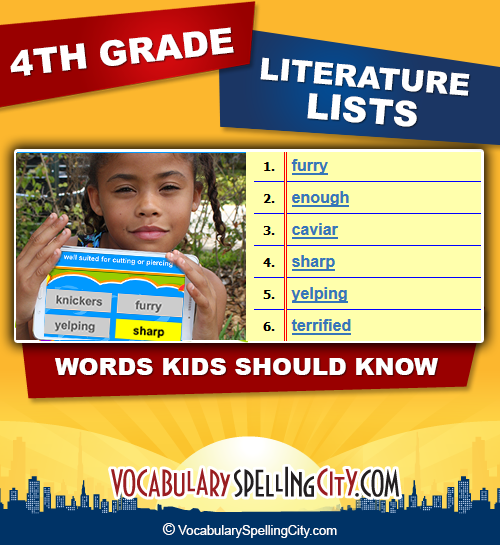 Fourth Grade Reading Vocabulary   VocabularySpellingCity