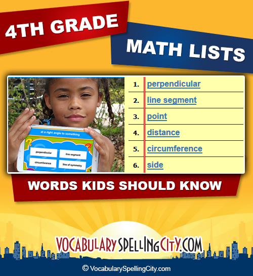 4th Grade Math Vocabulary - Fourth Grade Math Terms ...