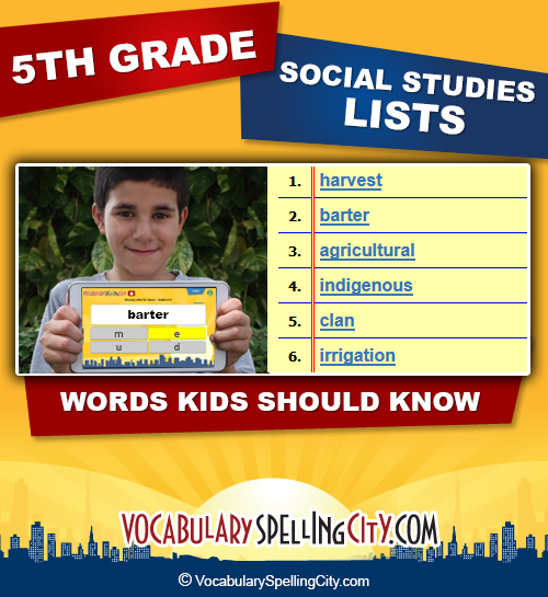 Fifth Grade Social Studies : VocabularySpellingCity