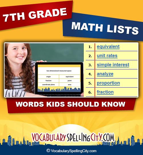 Seventh Grade Math Vocabulary | VocabularySpellingCity