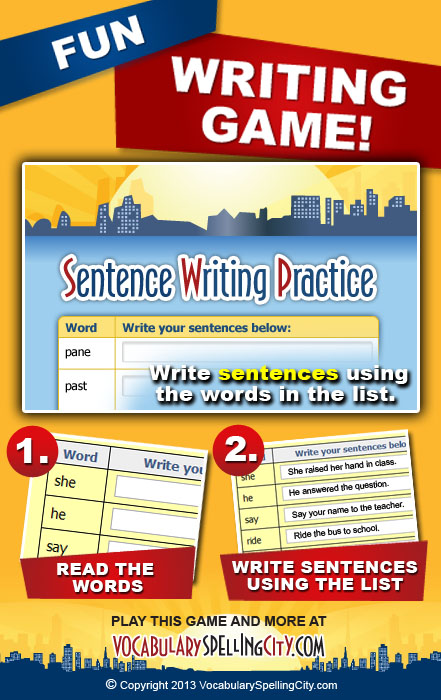 Create sentences from words