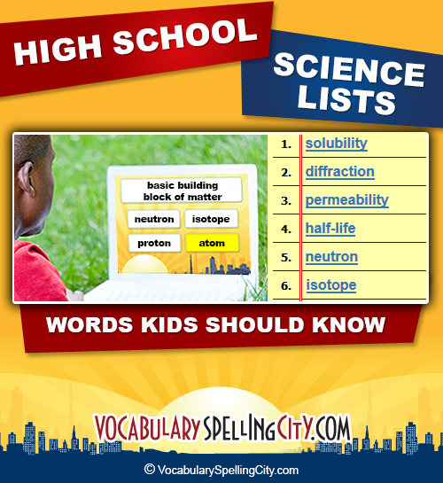 High School Science Vocabulary - High School Science Terms ...