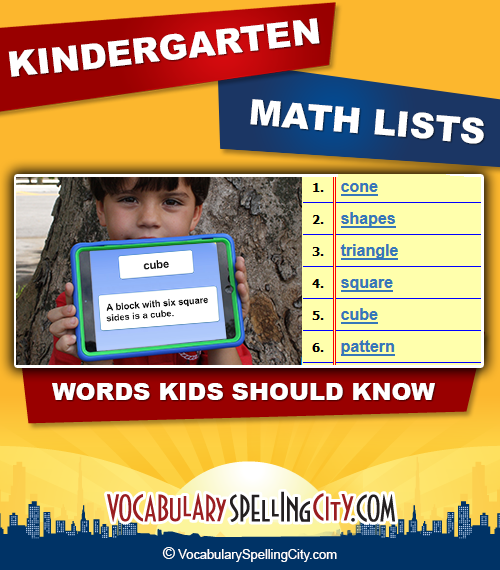 Number Names Worksheets vocabulary lessons for kindergarten : Kindergarten Math Vocabulary | VocabularySpellingCity