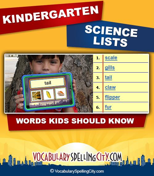 Kindergarten Science Vocabulary Words