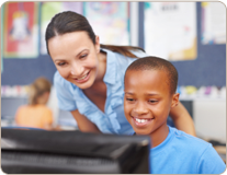 Teacher with Student doing Vocabulary Schoolwork on a Tablet