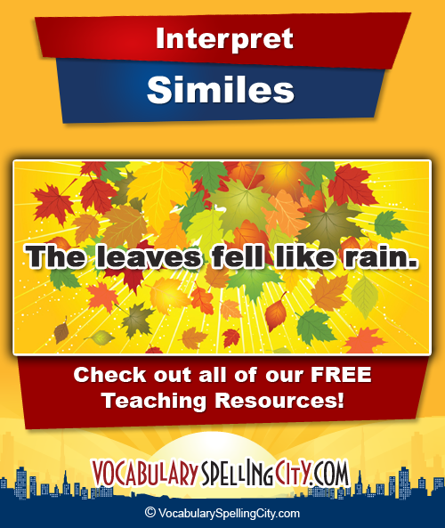 Simile Words List Simile Practice Vocabularyspellingcity