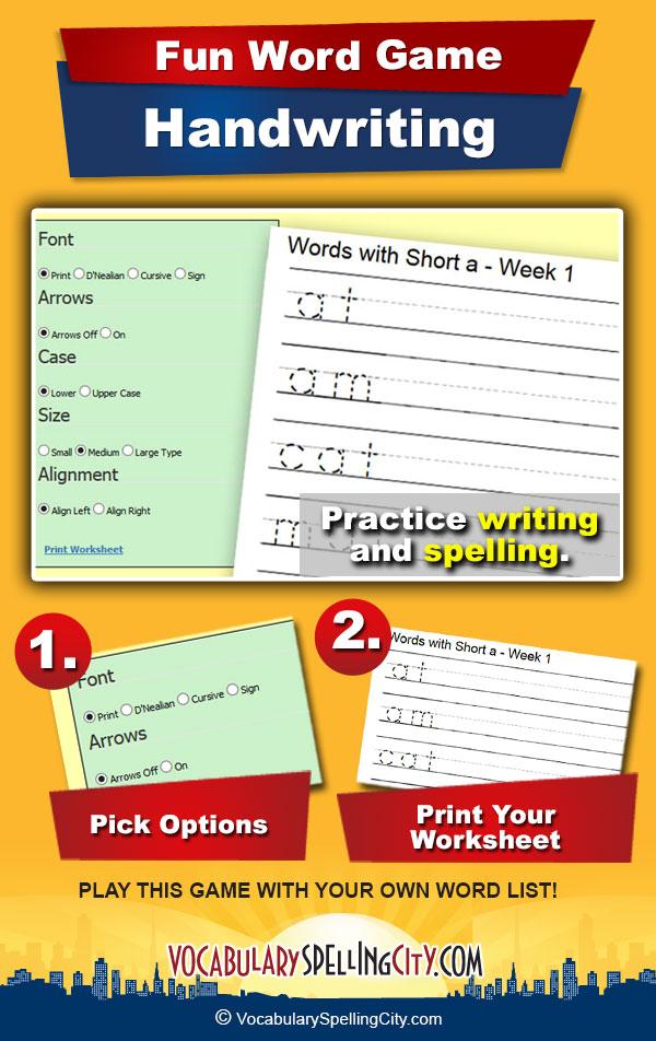 Handwriting Vocabularyspellingcity
