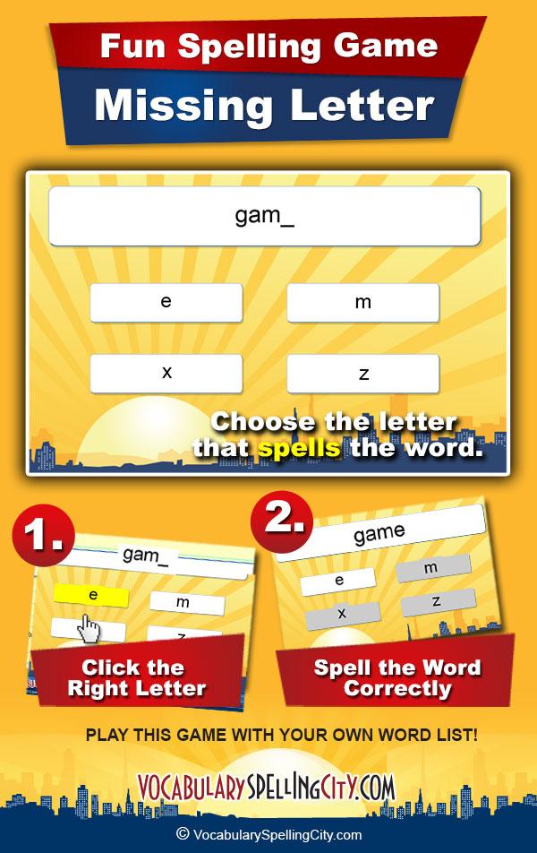 Missing Letter | VocabularySpellingCity