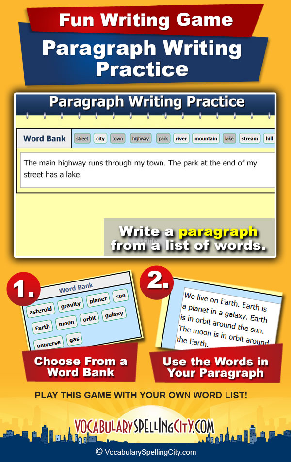 Paragraph Writing Practice Game Screenshot