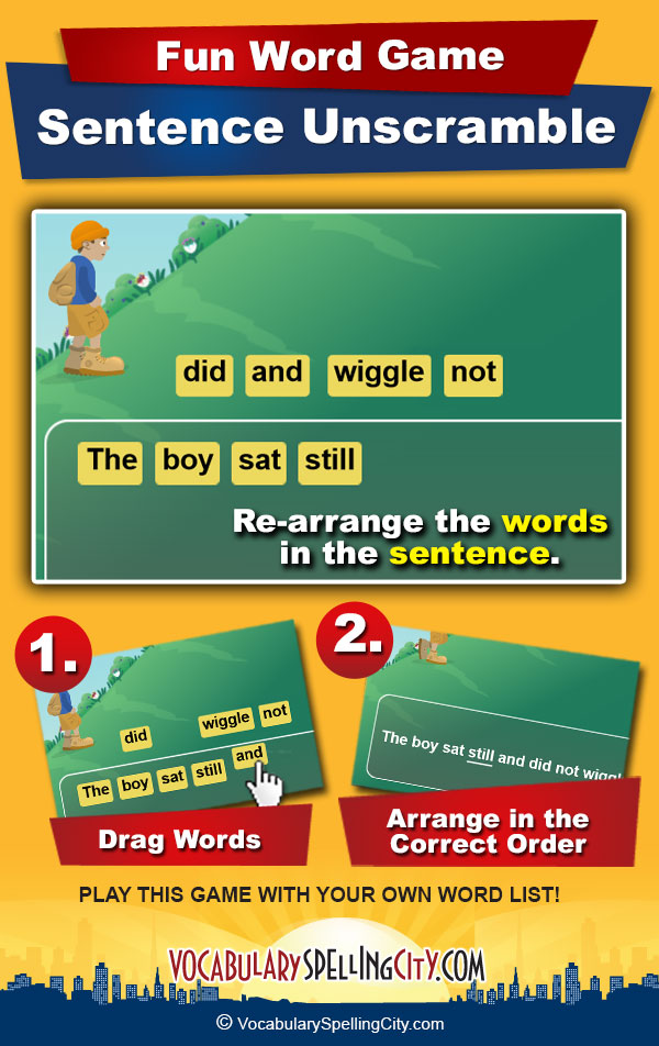 Sentence Unscramble Game Screenshot