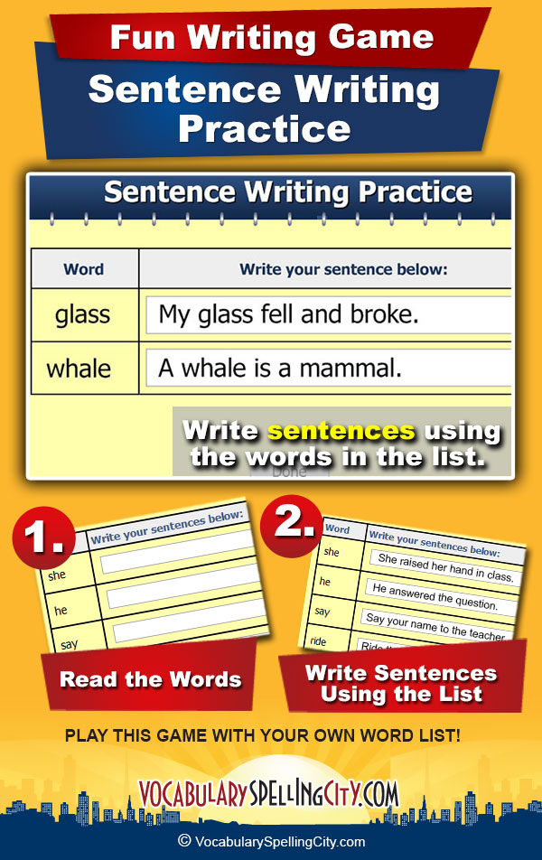 Sentence Writing Practice Game Screenshot