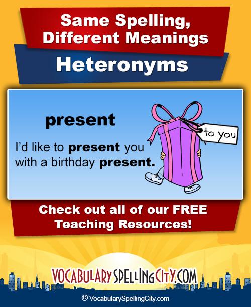 List Of Heteronyms Spelling Words Homographs List For Kids