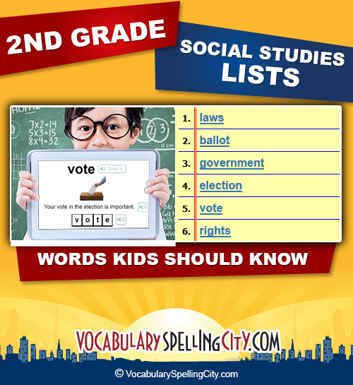 Second Grade Social Studies | VocabularySpellingCity