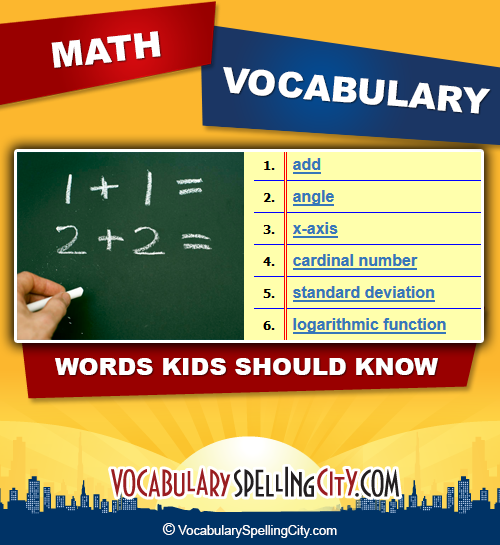 math vocabulary lists are based on the common core state math ...