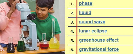 Science Vocabulary Words - Science Spelling Lists